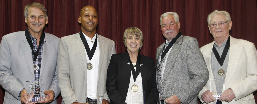 The 2015 Catawba County Sports Hall of Fame Inductees are (left to right) Hank Parker, Tyrone McDaniel, Linda Richards, Tommy Houston, and Gary Yount. Ernie Masche/Record